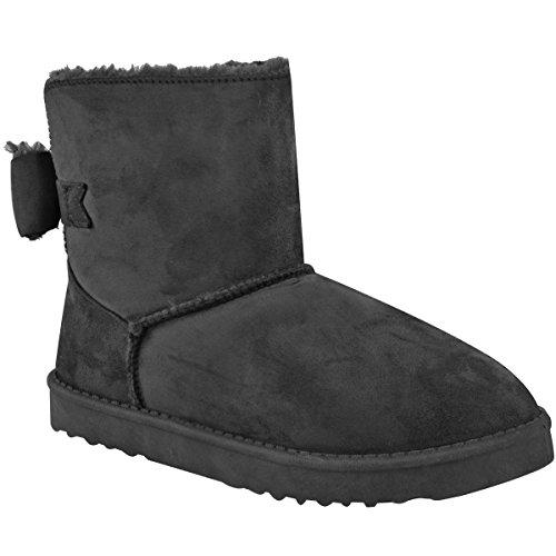Mote Tørst Kvinners Leiligheter Lave Hæler Pels Foret Bow Ankel Boots Damer Snugg Sko Størrelse Grå Faux Suede