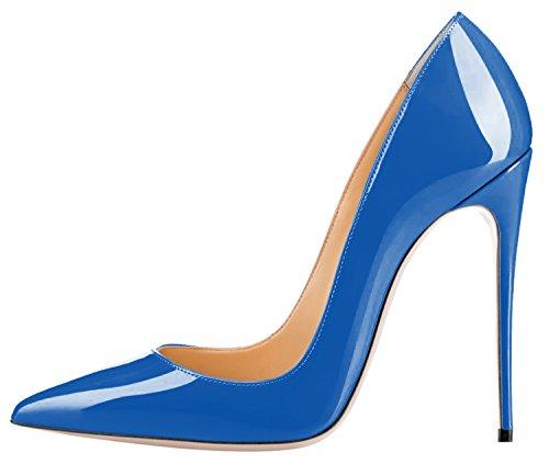 Guoar Para Mujer Stiletto Zapatos De Gran Tamaño Señaló Punta De Patente De Las Señoras Bombas Sólidas Para El Lugar De Trabajo Vestido De Fiesta A-sky Azul