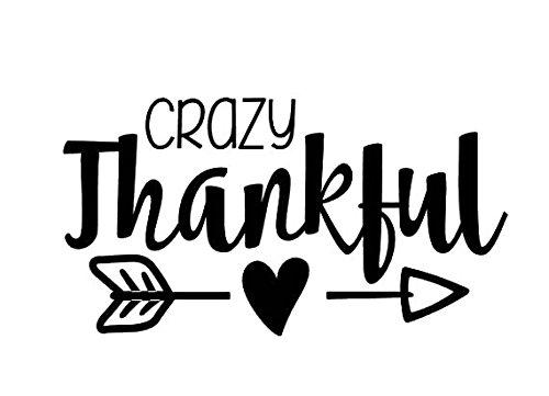 Crazy Thankful Thanksgiving Black Decal Vinyl Sticker|Cars Trucks Vans Walls Laptop| Black |5.5 x 3.5 in|LLI658