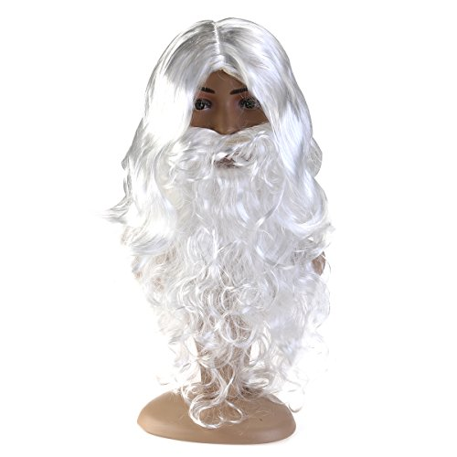 WINOMO Santa Wig Christmas Halloween Wig and Beard Set White Fancy Dress (Long Hair Beard Halloween Costumes)