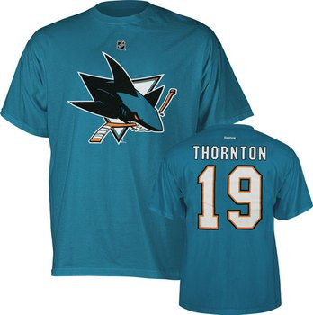 Joe Thronton San Jose Sharks Reebok Teal Player T-Shirt
