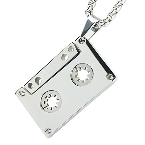 METALTREE98 Solid Hip Hop Stainless Steel Music Cassette Tape Pendant 3mm Box Chain 24