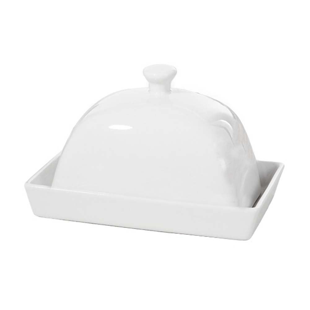 White Porcelain Butter Dish Decorative Butter Keeper With Lid Cover for Home/Western Restaurant