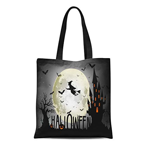(Semtomn Canvas Tote Bag Broomstick Halloween of Witch Full Moon Bats Black Cartoon Durable Reusable Shopping Shoulder Grocery)