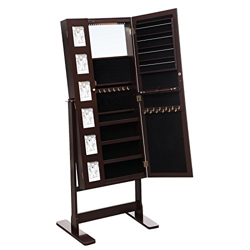 SONGMICS 6 Photo Frames Jewelry Cabinet Armoire, 18 LEDs Large Jewelry Organizer with Mirror, Brown UJJC92K