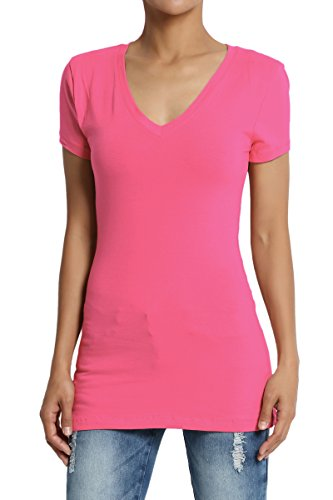 TheMogan Women's Baisc V-Neck Short Sleeve T-Shirts Cotton Tee Fuchsia L (V-neck Womens Stretch Tee)