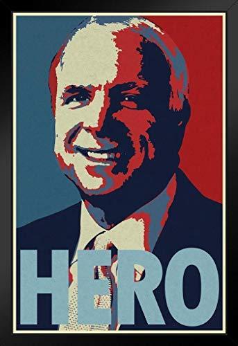 (John McCain Hero Framed Poster 14x20 inch)