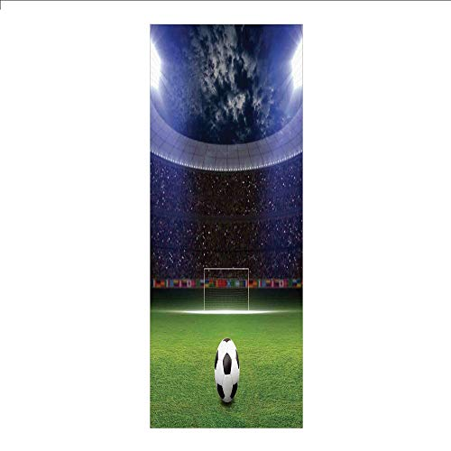 3D Decorative Film Privacy Window Film No Glue,Sports Decor,Soccer Ball on Stadium Arena in Night Illuminated Cheering Fans,for Home&Office -