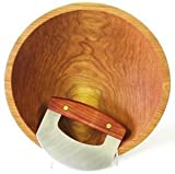 Cherry Wood Chopping Bowl Set - 12 Inch Cherry Bowl & Mezzaluna (Ulu) Knife - Holland Bowl Mill