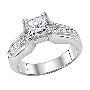 GIA Certified 14k white-gold Princess Cut Diamond Engagement Ring (2.10 cttw, G Color, VS2 Clarity)
