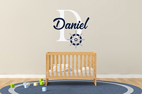 R35 Series (Custom Name & Initial Rudder - Handmade Series - Baby Boy/Girl - Wall Decal Nursery For Home Bedroom Children (R35))