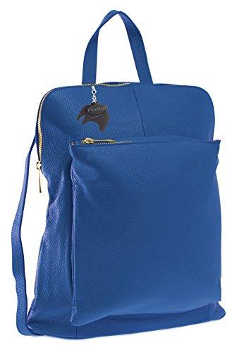 Big Handbag Shop Womens Genuine Leather Medium Convertible Backpack Shoulder Bag (Royal Blue)