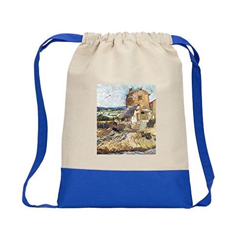 - The Garden Gachet (Van Gogh) Canvas Backpack Color Drawstring - Royal Blue