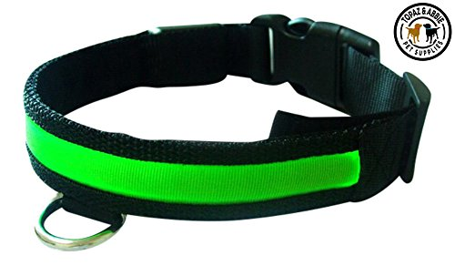 LED Dog Collar By TOPAZ & ABBIE©- LED Dog Collars - 6 Colors & 4 Sizes - Non Toxic, High Quality & Durable - Steady Light & Flash Settings - Dog Collar - Red, Blue, Green, Pink, White, Yellow Abbie Six Light