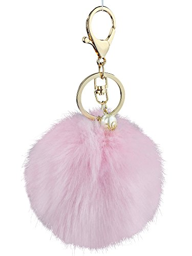s for Women - Pink Faux Fur Ball Charm and Artificial Pearl with Key Ring (Louis Vuitton Bag Charm)