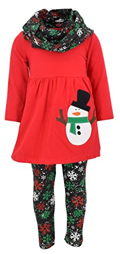 Unique Baby Girls Christmas Snowman 3 Piece Winter Outfit (5/L, Red)]()