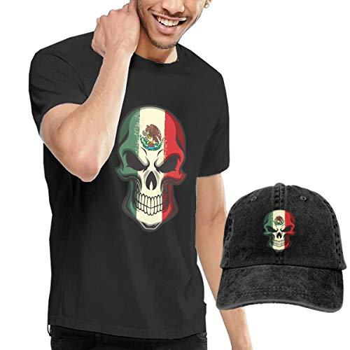 Men's Mexico Flag Painted On Skull T Shirt Short Sleeve and Unisex Adjustable Trucker Baseball Hat Caps M Black