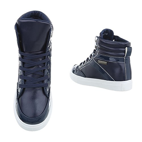 Sneakers Ital 16 Foncé design 2 Bleu Scarpe Sneaker High Da N Piatto Donna OgYaqwO
