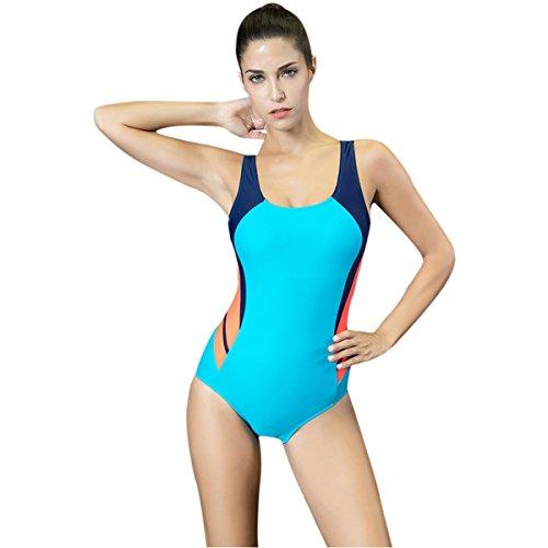 Mufly Bikini Bañadores Deportivo Mujer Sin Espalda Trajes de Baño una Pieza Atlético Deportivos Natación Triángulo Elástico Bañador Vestido 2017 Azul