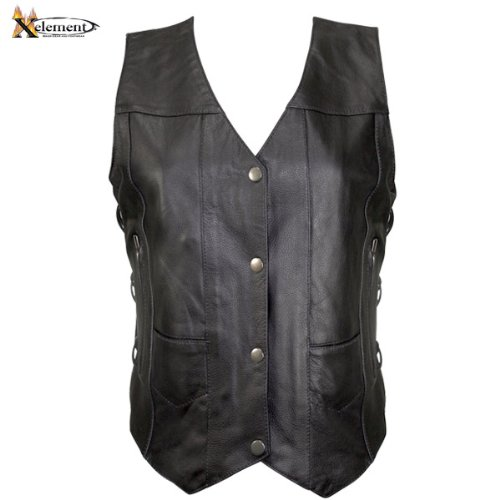 Button Only Vest (Xelement B26675 Womens Black 10 Pocket Cowhide Leather Motorcycle Vest - X-Large)
