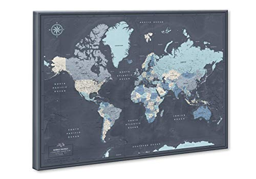 World Map Pin Board | Push Pin Map on Canvas | Navy Push Pin Travel Map | Premium Quality Travel Map With Pins 24 x 32 (Pin World Map)