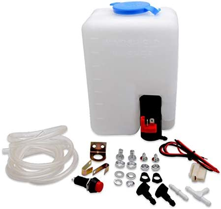 CABINA HOME 12V Universal Car Windshield Washer Tank Pump Washer Bottle Kit Motor Pump Jets Switch