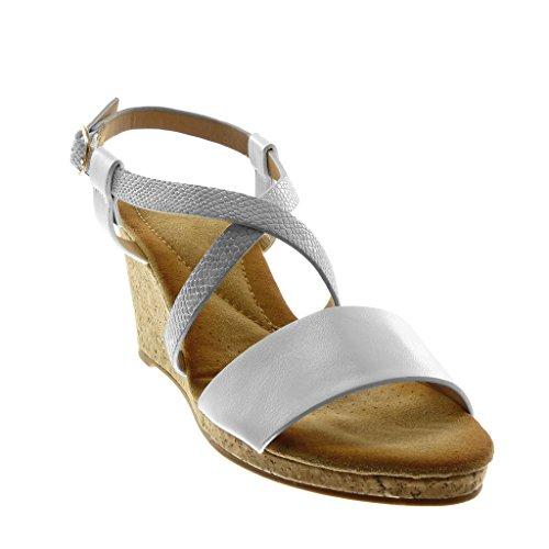 con di Serpente Sughero Donna Caviglia Scarpe Briglia alla Moda Mules Sandali Angkorly Zeppa 7 cm Bianco Multi Pelle 5 Tacco Cinturino BI6O7xq
