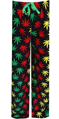 Underboss Men's Rasta Themed Ganja Weed Leaf Plush Loungepants (Large) Black (Weed Pyjamas)
