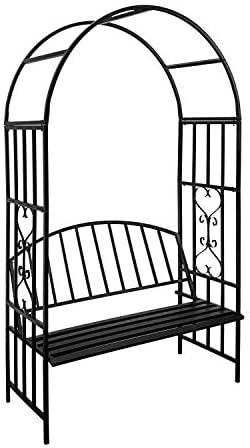 """Stereoscopic Garden Steel Garden Arch Arbor Archway with Graceful Curve for Climbing Plants Roses Vines, Outdoor Garden Lawn Backyard Patio, Wedding, Black (6'9"""" x 3'9"""" with Seat)"""