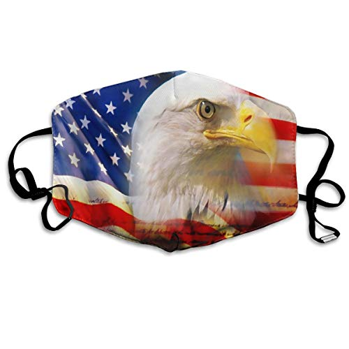 US Flag Patriotic Eagle Flu Dust Masks Reusable Cotton Breathable Safety Respirator for Outdoor Cycling Face Earloop Masks Dust Pollen Flu Germs Allergens ()