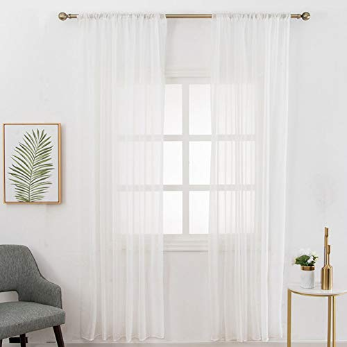 White Sheer Voile Curtain Panels, Simple Solid Sheer Window Curtain Rod Pocket Elegant Linen Look Semi Sheer Curtain Drapes for Kids Bedroom Living Room Nursery Room Draperies, 80 inch Long, 1 Panel
