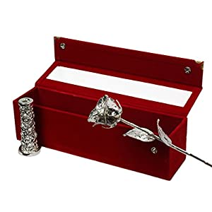 Real Rose Premium 24K Gold Dipped Rose in Beautiful Velvet Gift Box Best Unique Gift for Husband wife Mom Dad Mother Valentines Day Wedding Anniversary Birthday Easter (11 IN (SILVER VASE), SILVER) 80