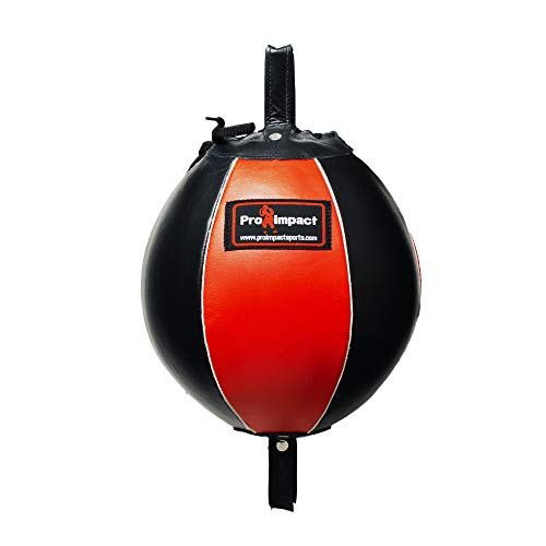 Pro Impact Genuine Leather Double End Boxing Punching Bag - Speed Striking & Dodge Training Ball - Includes Cords & Hooks for Gym Workout MMA Muay Thai Black Red 9