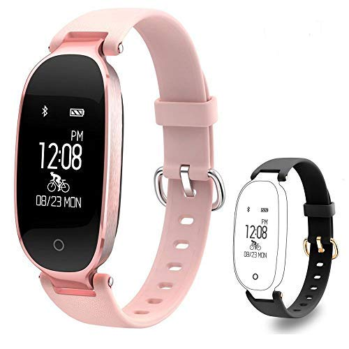 TOP-MAX Fitness Tracker, HR Activity Tracker Calorie Counter with Sleep Monitor, Step Counter, Pedometer for Women Kids iPhone Android (1 Piece Rose Smart Bracelet + 1 Replacement Black ()