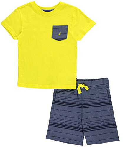 [Nautica Little Boys' Two Piece Set with V-Neck Tee with Knit Short, Firefly, Extra Large (7X)] (Knit Two Piece Set)