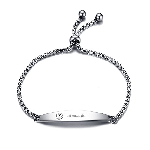 LiFashion CL Stainless Steel Fibromyalgia Medical Alert ID Sos Emergency Link Identification Bracelet for Men Women]()