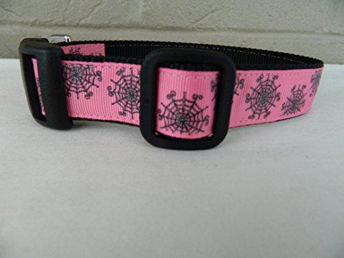 Schmoopsie Couture Halloween Black Spider Web Sparkle on Hot Pink Dog Collar (Medium (11