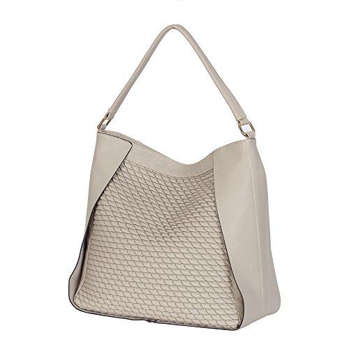 Women Hobo Bag Satchel Top Handle Bag Faux Leather Shoulder Bag off-white