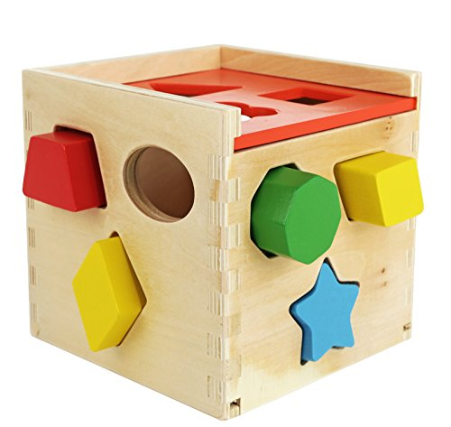 Baby Toys 18 24 Months : Colorful shape sorting puzzle cube solid wood toy with