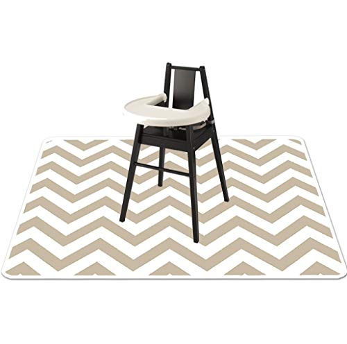 Baby Splat Mat for Under High Chair - High Chair Floor Mat - Splash Mat, Catchall and Floor Protector, Anti Slip Art Mat for Kids - Washable, Waterproof, Extra Large (51 Inch) - Grey Chevron (Chair High Mat Splat)