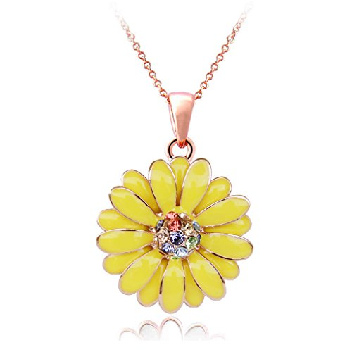 egant Daisy Necklace With Crystal - Yellow ()