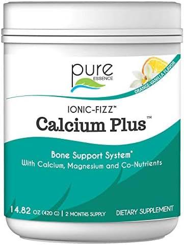 Pure Essence Labs Ionic Fizz Calcium Plus-Perfect Calcium/Magnesium Ratio with Every Co-Factor Needed for Strong Bones - Orange Vanilla - 420 Grams