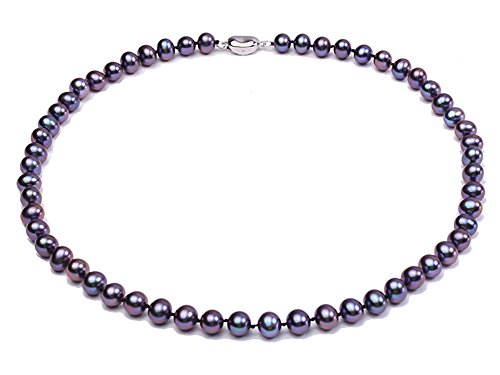 JYX Pearl Necklace 7-8mm Black Cultured Freshwater Pearl Necklace Strand 18