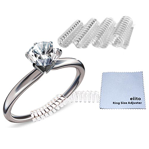 Eiito Ring Size Adjuster (Set of 4 Sizes), Ring Adjusters -Assorted Sizes, Ring Size Reducer Ring Guard Snuggies with Silver Polishing Cloth - Does Remove Scratches Polishing