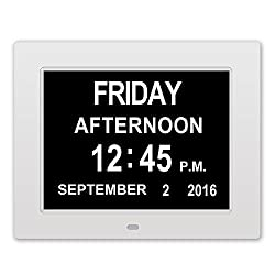 Memory Loss Digital Calendar Day Clock with Extra Large Non-Abbreviated Day & Month Perfect for Seniors (White)