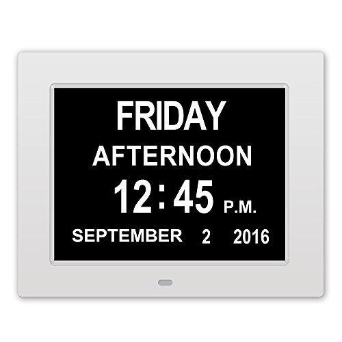Memory Loss Digital Calendar Day Clock with Extra Large Non-Abbreviated Day & Month Perfect for Seniors (White) (Alarm Time Sound I Travel Clock)