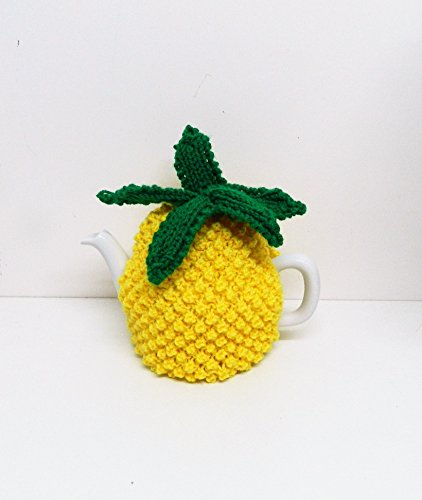 Pineapple tea cosy hand knitted in yellow fits 4 cup tea pot