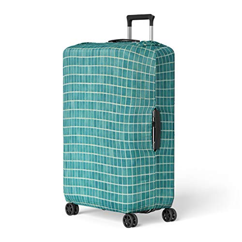 Pinbeam Luggage Cover Blue Wall and Floor Mosaic Tiles in Azure Travel Suitcase Cover Protector Baggage Case Fits 18-22 inches