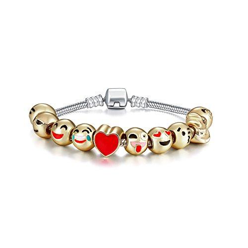 Romano Stivali 18K Gold Plated Emoji Faces Charms Bracelets with Lobster Clasp Snake Chain (10 Charms, Regular) (Bracelets Snake Roman)