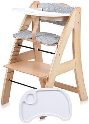 Trona para bebés – trona silla infantil silla para bebé madera silla de madera trona con escalera silla bandeja extra blanca o de color natural buche: Amazon.es: Bebé